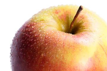 Beautiful ripe apple wet from morning dew