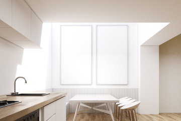 Dining room interior with square table