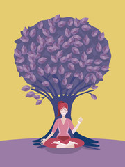 Woman Meditating in Front of a Tree