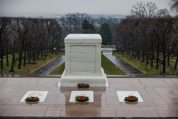 WASHINGTON, D.C. - December 25, 2014: Tomb Guard sentinel at The Tomb of the Unknown Soldier at Arlington National Cemetery. The Tomb is guarded 24 hours a day.