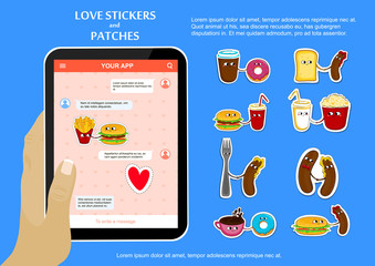 Fast food funny love stickers and patches. Cute cartoon emoticons. Chat application on tablet. Vector illustration.