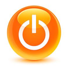 Power icon glassy orange round button