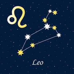 constellation Leo zodiac horoscope astrology stars night illustration gold symbol vector