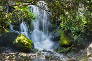 Waterfall is under long exposure