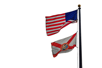 Florida flag with american flag on pure white background