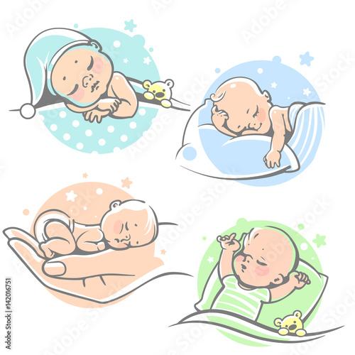 cute pillow clipart. set with cute little baby sleeping.children lying on pillow under blanket. boy clipart
