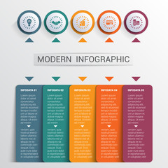 Infographics design template, color buttons and 5 plates shapes