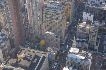 New York city, close up on buildings. Aerial view