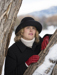 Middle aged woman outdoors, winter in Colorado