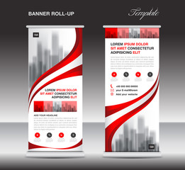 Red Roll up banner, stand template, poster, display, advertisement, banner design, pull up layout, vector