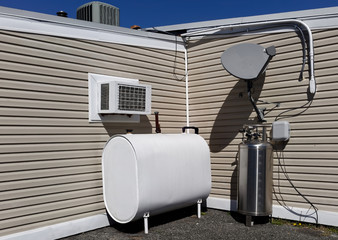 Rear view of restaurant equipment and appliances.