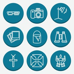 Set of 9 image outline icons