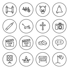 Set of 16 image outline icons
