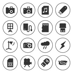 Set of 16 flash filled icons