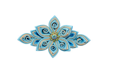 Wall Mural - Kanzashi. Blue artificial flower isolated on white background