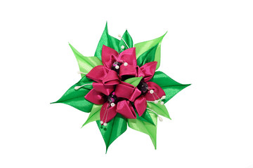 Wall Mural - Kanzashi. Dark pink artificial flowers isolated on white backgro