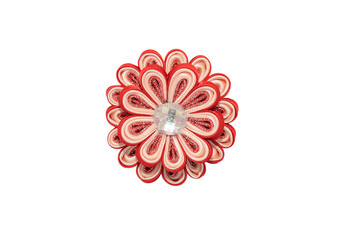 Wall Mural - Kanzashi. Red artificial flower with brocade isolated on white b