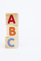 ABC Spelling toy blocks with copyspace