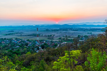 Sunset on the mountain in Chiang Rai,North of Thailand
