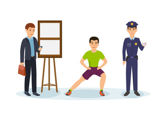 Businessman with briefcase and phone, fitness trainer squats, police officer.