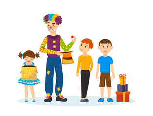 Clown animator, shows tricks and scenes, amusing and delighting children.