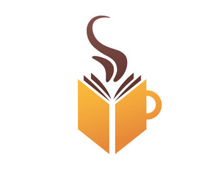 Modern Book Lover Logo - Book And Coffee