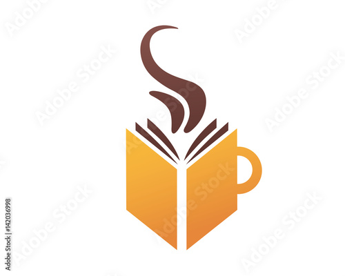 Modern Book Lover Logo Book And Coffee Stock Image And Royalty