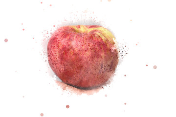 abstract apple on watercolor background. watercolor paiting