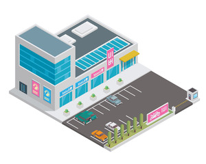 Modern 3D Shopping Mall Isometric, Suitable for Diagrams, Infographics, Illustration, And Other Graphic Related Assets
