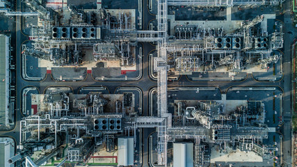 Aerial view oil refinery, refinery plant, refinery factory Wall mural