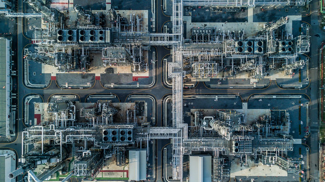 Aerial view oil refinery, refinery architecture building plant, refinery factory for city.