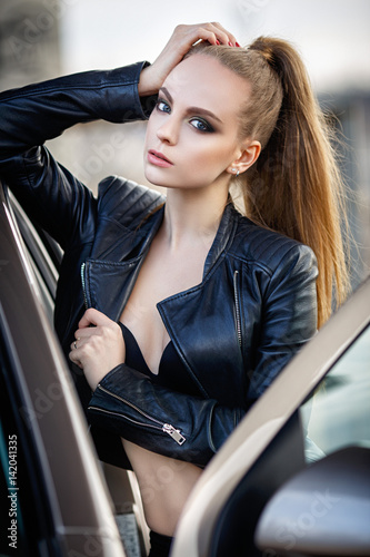 Sexy girls in black leather
