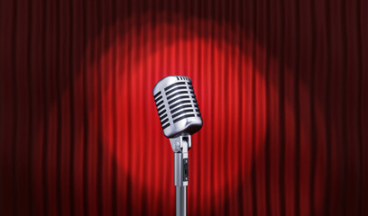 Microphone and Red stage curtain