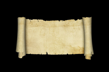 Scrol of antique parchment on black background.