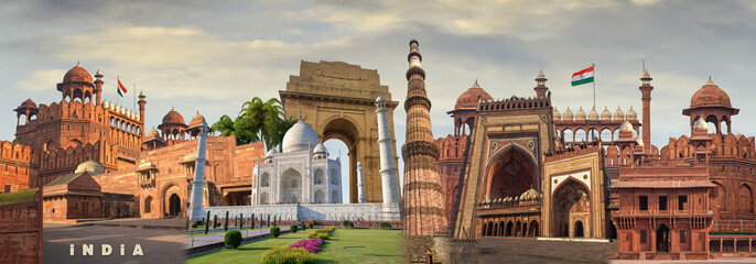 Collage of India monuments heritage sites landmarks and tours and travel destinations.