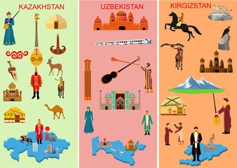 Set of three middle asian countries. Kazakhstan. Uzbekistan. Kyrgyzstan. Symbols of each country. Camel, people in national dress. Historical and, modern building, Mountain , Vector illustration