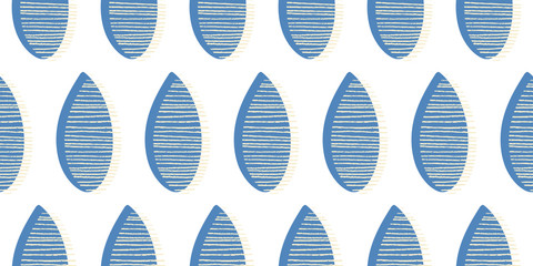 Seamless vector pattern. Blue leaves with lines on white background. Hand drawn abstract  ornament