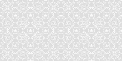 Vector seamless pattern. Grey and white color. Pattern for your projects. Design wallpaper, decoration pattern repeating, pattern for graphic design. Royal stylish texture