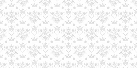 Vector seamless pattern. Grey and white color. Pattern for your projects. Design wallpaper, decoration pattern repeating, pattern for graphic design. Vintage texture