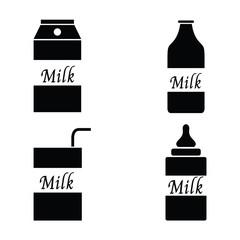 Milk packaging icon set