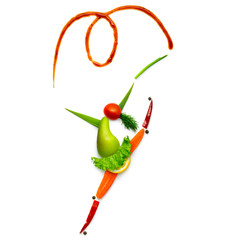Elegant and sweet / Creative food concept of a gymnast made of vegetables and fruits on white backgraund.