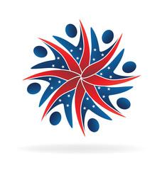 Patriotic teamwork people logo