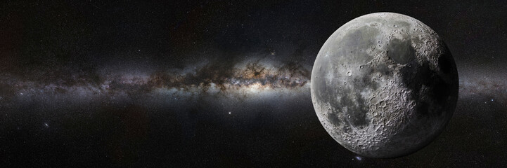 Moon in front of the Milky Way galaxy Wall mural