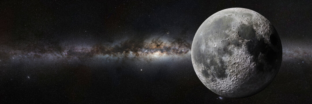 Moon in front of the Milky Way galaxy