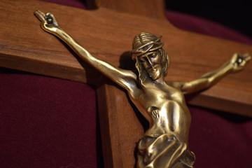 Crucifix Bronze Christ on Wooden Cross