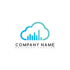 music cloud brand company template logo logotype vector art