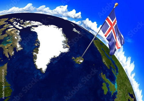 Iceland national flag marking the country location on world map 3d iceland national flag marking the country location on world map 3d rendering parts of gumiabroncs Gallery