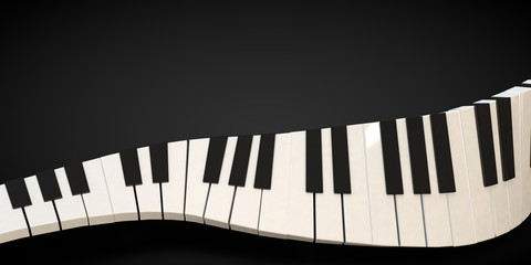 3d render of a piano keyboard in a fluid wavelike movement