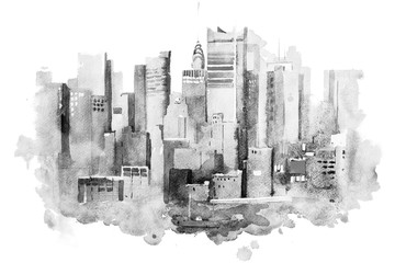 watercolor drawing of New York cityscape, USA. Manhattan aquarelle painting Fototapete