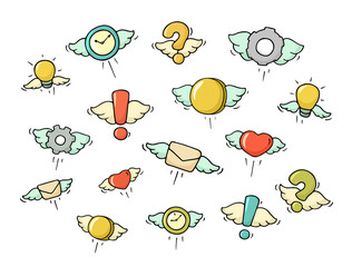 Set of flying objects.